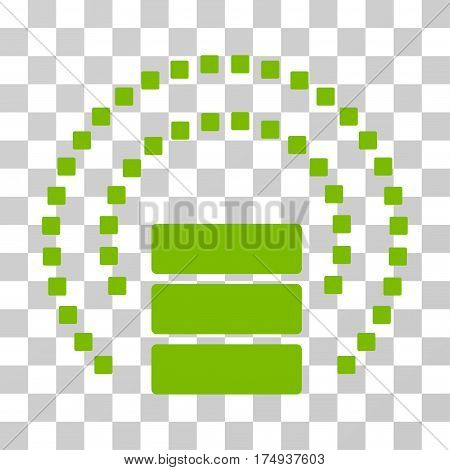 Database Sphere Shield icon. Vector illustration style is flat iconic symbol, eco green color, transparent background. Designed for web and software interfaces.