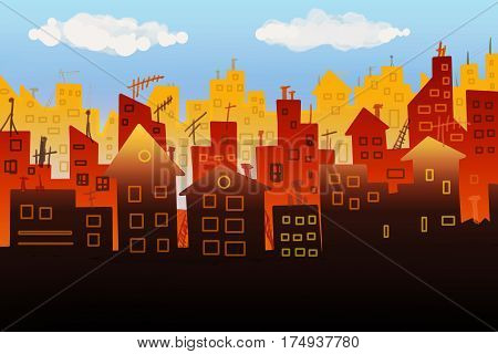 Multicolored illustration panorama  silhouette of the city