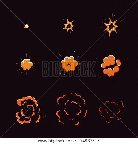 Explode effect, animation with smoke, storyboard comics game design. vector illustration. Cartoon explosion boom.