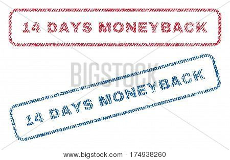 14 Days Moneyback text textile seal stamp watermarks. Blue red fabric vectorized texture. Vector caption inside rounded rectangular banner. Rubber emblem with fiber textile structure.