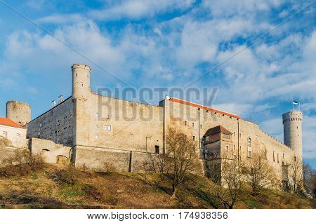 Toompea Castle by sunny day on early spring Tallinn Estonia