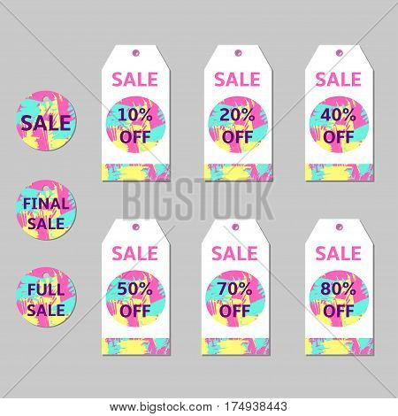 Sale tags set with abstract colorful elements