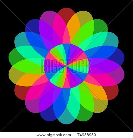Abstract mandala in rainbow colors, Flower isolated on black background, Colorful bloom, Multicolor esoteric petal mandala