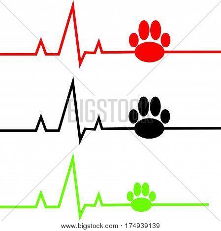 ECG with dog paw on white background. Vector illustration.