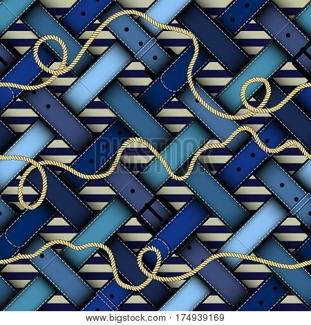 Seamless background pattern. Diagonal plaid pattern in nautical style with a belts.