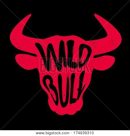 Red silhouette of the animal's head with lettering text Wild Bull. Vector illustration.
