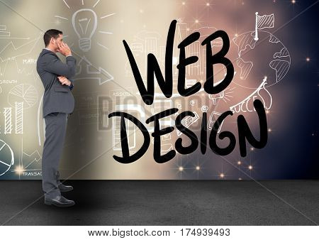 Confused businessman looking at web design icons against digitally generated background