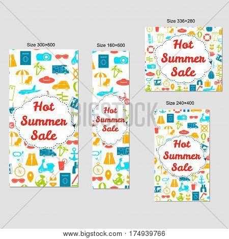 Web banners set - Hot Summer Sale. Standart Size