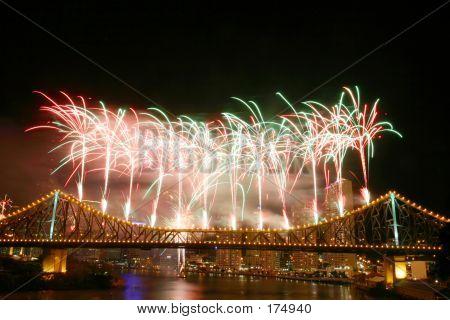 Fireworks At Story Bridge