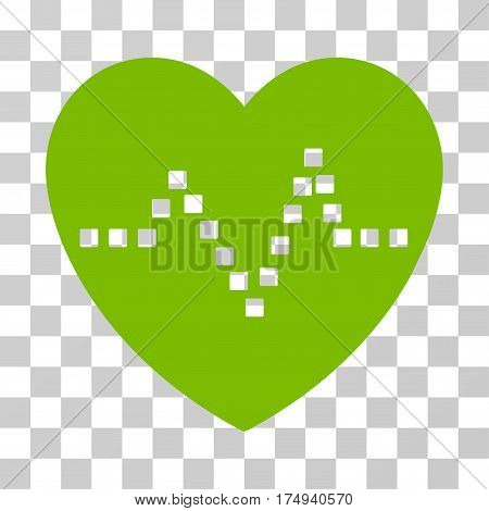 Heart Pulse icon. Vector illustration style is flat iconic symbol, eco green color, transparent background. Designed for web and software interfaces.