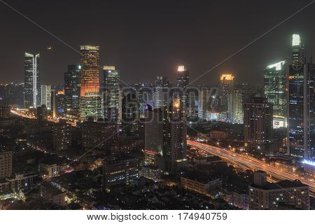 Shanghai, China - March 2, 2017: Shanghai Skyline At Night