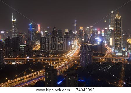 Shanghai, China - March 2, 2017: Shanghai Skyline At Night With The Shanghai Tower And Shanghai Worl