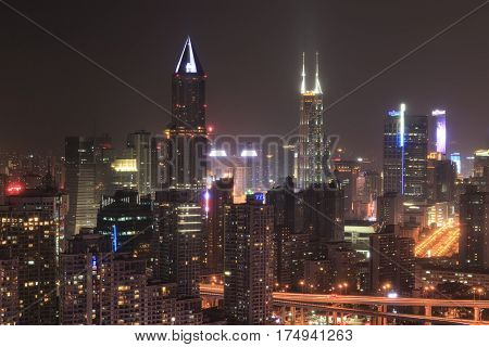 Shanghai, China - March 2, 2017: Shanghai Skyline At Night With The Shimao International Plaza And T