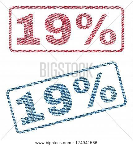 19 Percent text textile seal stamp watermarks. Blue red fabric vectorized texture. Vector caption inside rounded rectangular shape. Rubber sticker with fiber textile structure.