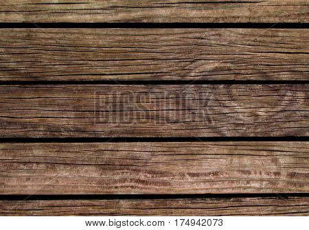 Old wood background. Natural wood texture with horizontal lines. Wooden background for banner. Timber texture closeup. Horizontal wooden planks of floor backdrop photo. Natural material for banner