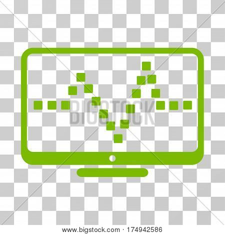 Pulse Monitoring icon. Vector illustration style is flat iconic symbol, eco green color, transparent background. Designed for web and software interfaces.