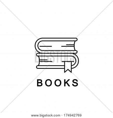 Books linear icon or logo. Books Vector line illustration. School textbooks with bookmarks library symbol. Books Vector isolated outline on white background