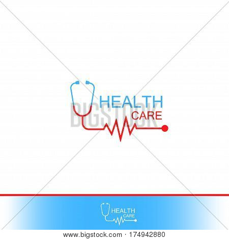 Health care Icon Logo. Tonometer with heart cheering cardiogram. Label or logo for Hospital. Vector Isolated on White background.