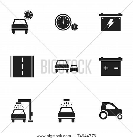 Set Of 9 Editable Vehicle Icons. Includes Symbols Such As Race, Vehicle Wash, Car Lave And More. Can Be Used For Web, Mobile, UI And Infographic Design.