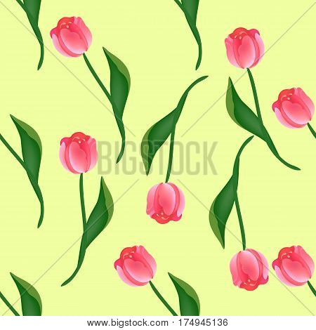 Seamless floral pattern with red and pink tulips on yellow. Endless background for your design, romantic greeting cards, announcements, fabrics, warpping paper. Vector illustration