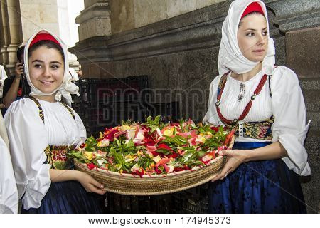 CAGLIARI, ITALY - May 1, 2013: 357 Religious Procession of Sant'Efisio - portrait of beautiful girls in traditional Sardinian costume - Sardinia
