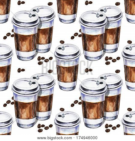 Watercolor seamless pattern with two disposables cups of coffee and coffee beans. Hand painted illustration
