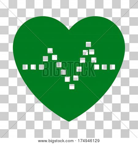 Heart Pulse icon. Vector illustration style is flat iconic symbol, green color, transparent background. Designed for web and software interfaces.