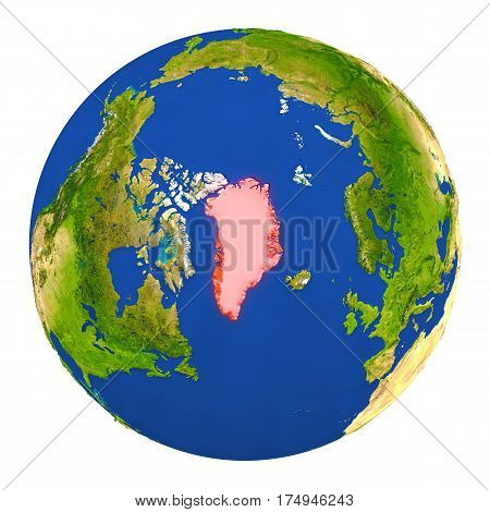 Greenland Highlighted On Earth