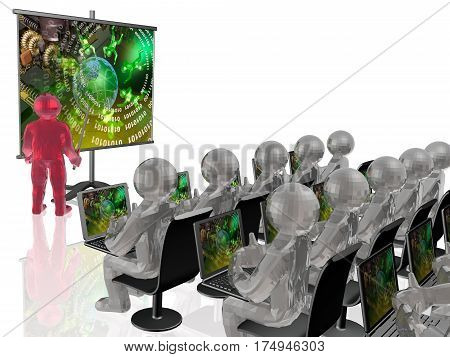 Man with presentation stands on white background 3D illustration.