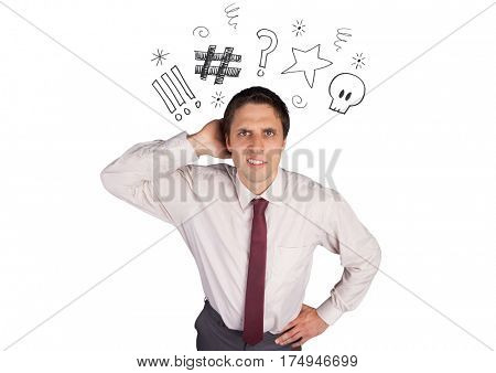 Digital composite image of a confused businessman against white background