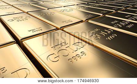 classic gold ingot 3d rendering image