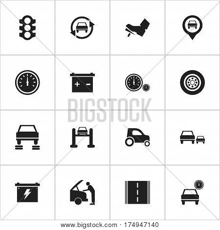 Set Of 16 Editable Transport Icons. Includes Symbols Such As Automobile, Treadle, Vehicle Car And More. Can Be Used For Web, Mobile, UI And Infographic Design.