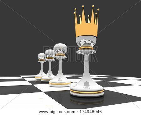 Leadership concept. chess pawn with crown. 3d renderd illustration