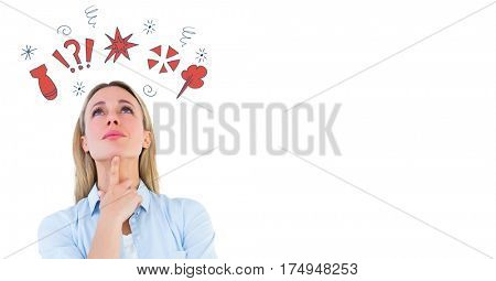 Digital composite image of a woman with cursing doodles against white background