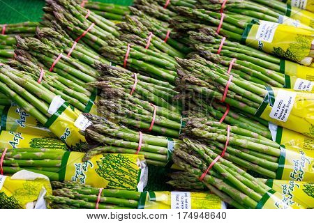 Fresh asparagus on display at Borough Market in London