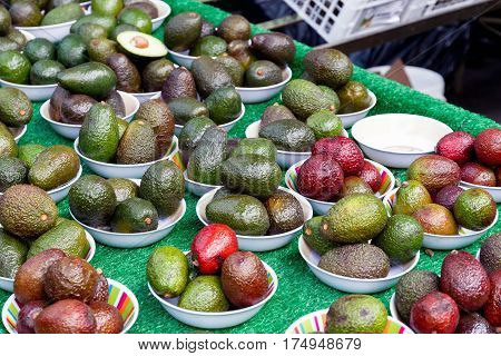 Avocado on display at Borough Market in London