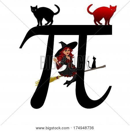 Pi with witch and cats black and red, Greek letter,
