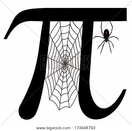 Pi, Greek letter, with spider and cobweb
