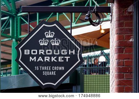 Hanging sign of Borough Market in London