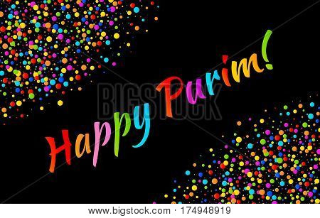 Vector Bright Horizontal Card Happy Purim carnival text with colorful shiny rainbow colors paper confetti frame isolated on black background. Birthday template. Purim Jewish holiday.