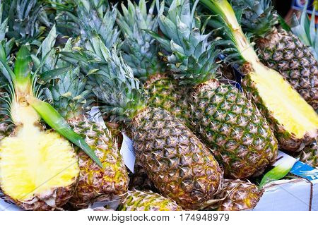 Fresh pineapples on display at Borough Market in London