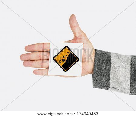 Hand Shoot Showing Rockfall Beware Sign Attention Note