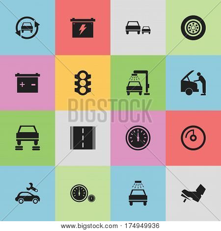 Set Of 16 Editable Traffic Icons. Includes Symbols Such As Automotive Fix, Speed Display, Car Lave And More. Can Be Used For Web, Mobile, UI And Infographic Design.