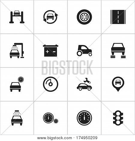 Set Of 16 Editable Vehicle Icons. Includes Symbols Such As Car Lave, Speed Display, Speed Control And More. Can Be Used For Web, Mobile, UI And Infographic Design.