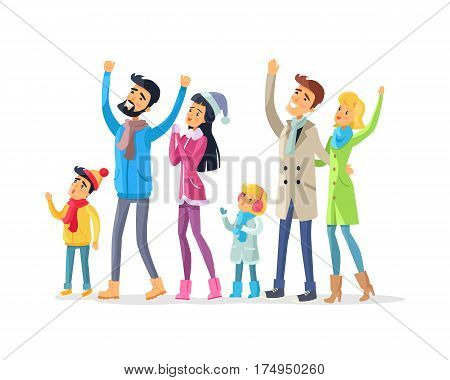 Family and friends in warm winter clothes celebrate New Year and look up. Joyful young man with raised hands, woman in Snow-maiden cap and children and adults together enjoy life vector illustration