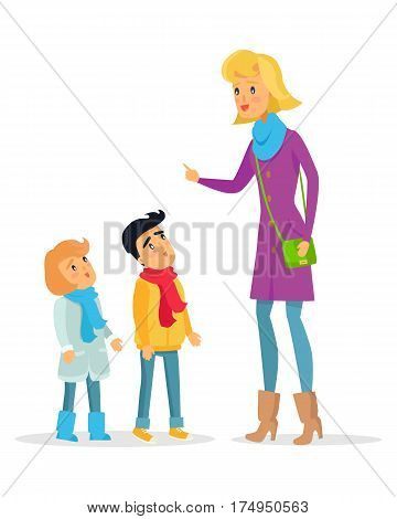 Woman explaining rules with raised hand for attentive children on white. Deliberately dressed female person teaches obedient little boy and girl. Vector cartoon illustration of learning process