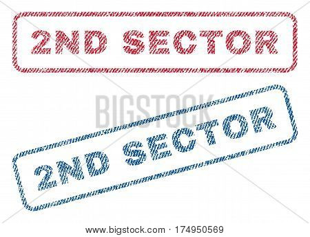 2nd Sector text textile seal stamp watermarks. Blue red fabric vectorized texture. Vector tag inside rounded rectangular shape. Rubber emblem with fiber textile structure.