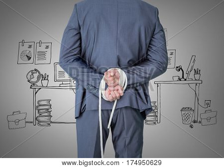Digital composite of tied up businessman against hand drawn office in background