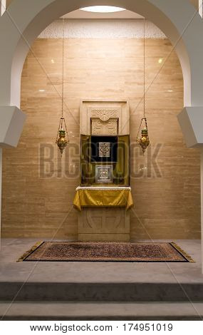 GALILEE ISRAEL - DECEMBER 3: Interior of the Sanctuary of the Word in Domus Galilaeae on the Mount of Beatitudes near the Sea of Galilee Israel on December 3 2016