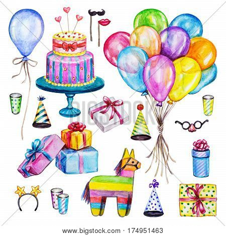 Watercolor Birthday party set. Hand drawn celebration objects: gift boxes air balloons cake of mastic pinata